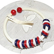 Vintage MOD Plastic Patriotic Ringed Bracelet Red, White & Blue NOS