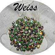 Vintage WEISS Green Flower Bouquet Rhinestone Brooch