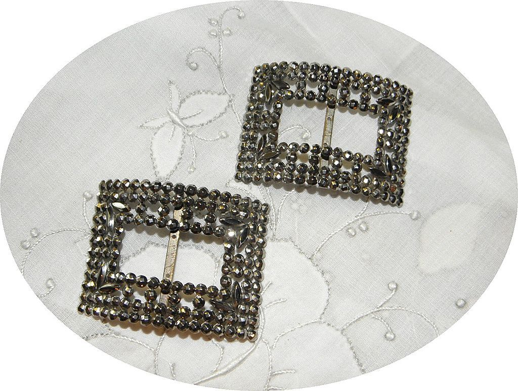 Vintage Cut Steel Shoe Buckles Pair Made in France