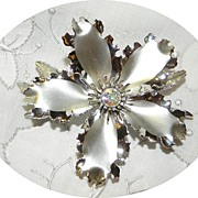 Big Vintage Silver Tone Flower Brooch with Rhinestone Center