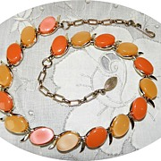 Vintage Thermoset Two tone Orange Tile Necklace