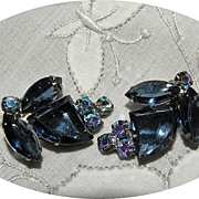 Vintage Blue Juliana Earrings with Unique Shaped Stones
