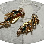 Vintage Hobe Green Rhinestone Earrings