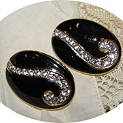 Large 1980s Black & Clear Crystal Rhinestone Earrings