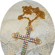 Vintage Pastel Rhinestone Large Cross Necklace with Scroll Work Accents