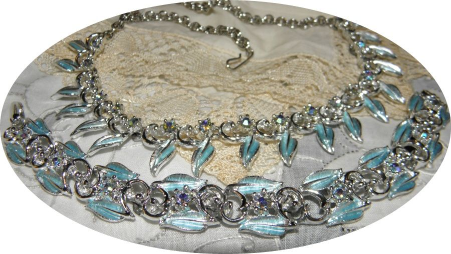 Vintage Icy Blue Rhinestone Necklace & Bracelet Set