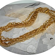 Vintage Big & Chunky Lightweight Multi-Chain Necklace in Gold Tone
