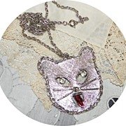 Vintage Fun Kitty Cat Necklace with Dangling Rhinestone Eyes & Licking Tongue