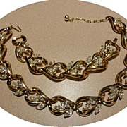 Vintage Trifari Clear Rhinestone Necklace & Bracelet Set