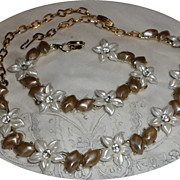 Vintage White & Taupe Rhinestone Flower Bracelet & Necklace Set