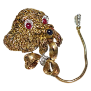 SALE NOW 50% OFF!  18K Gold Diamond Rubies Sapphire Poodle Dog Chatelaine Brooch with Leash