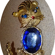 Vintage Blue Rhinestone Siamese Kitty Cat Brooch Pin