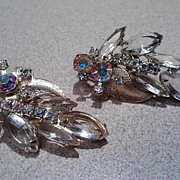 Vintage Large Clear Rhinestone Juliana Earrings with Gold Tone Leaf Accent