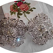 Huge 1960s Rhinestone Shoe Clips by TipToe