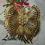 Vintage Lisner Butterfly Brooch with Faux Pearls