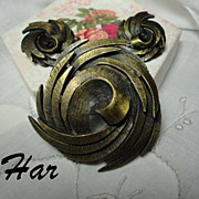 Vintage Swirling HAR Bronzed Brooch & Earrings Set