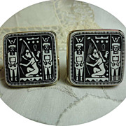 Vintage Egyptian Revival White & Black Big & Bold Cufflinks