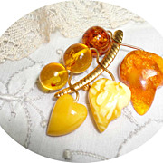 Vintage Russian Baltic Amber Leaves & Berries Brooch Kaliningrad Factory