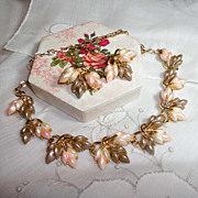Vintage Tan & Pink Thermoset Necklace & Earrings Set Feminine Leaves