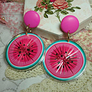 Vintage Huge Avon Tooty Fruity Watermelon Pierced Earrings in Original Box