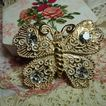 Vintage White Washed Heavy Gold Tone Butterfly with Rhinestones Brooch