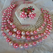 Vintage Bright & Pale Pink Multi-Strand Necklace & Earrings Set