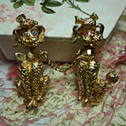 Adorable Vintage Poodle Chatelaine Scatter Pins Brooch Male & Female