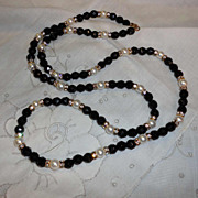 Vintage 1970s HOBE' Black Glass & Rhinestone Necklace