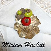 Miriam Haskell Gilt Lily Leaf & Glass Pate de Verre Beads Dress Clip