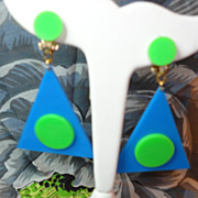 Fun and Funky 1960s Dangling Big Plastic Polka Dot GoGo Earrings NOS
