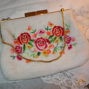 Gorgeous Hand Beaded & Embroidered Floral Purse Hong Kong