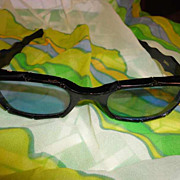 Vintage 1960s Black Bamboo with Blue Lenses Sunglasses