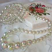 Vintage Soap Bubble Necklace & Bracelet Set Aurora Borealis Beads
