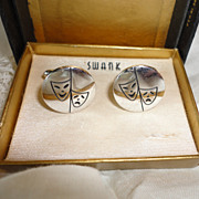 Vintage Swank Silver Tone Drama Comedy Mask Cufflinks in Original Box