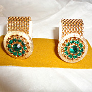 Vintage Green Rhinestone Gold Tone Mesh Wrap Around Cufflinks New on Card