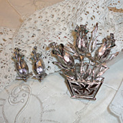 Vintage Silver Tone Roses Flower Pot Brooch & Earrings Set