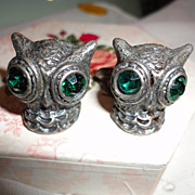 SOLD Vintage Swank Pewter Colored Big Owl Head Cufflinks with Green Rhinestones