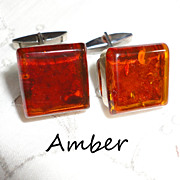 Vintage Baltic Amber Cufflinks in Metal with Original Box