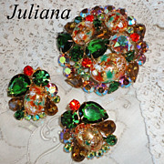 Vintage Juliana Easter Egg Coral & Green Huge Brooch & Earrings Set