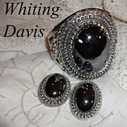 SALE Vintage Massive Whiting Davis Hematite Cuff Bracelet Earrings Set