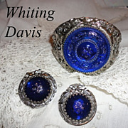 SALE Vintage Whiting & Davis Cobalt Blue Glass Big Cuff Bracelet & Earrings Set