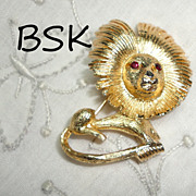 Vintage BSK Modernist Lion Brooch Pin