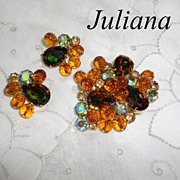 Vintage Juliana Heliotrope Brooch & Earrings Set