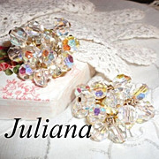 Vintage Juliana DeLizza & Elster Dangling Crystal & Rhinestone Earrings