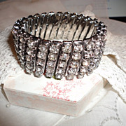 Rhinestone Vintage Expansion Bracelet All Prong Set Wide