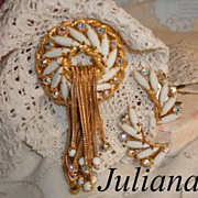 Vintage Juliana White Navette Waterfall Fringed Brooch & Earrings Set