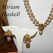 Vintage 1950s Miriam Haskell Necklace & Earrings Set Faux Baroque Pearls & Rhinestones