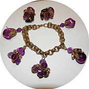 Vintage Big Chunky Purple Charm Bracelet & Earrings with Prystal & Rhinestones