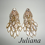 Vintage Juliana Dangling Crystals and Rhinestone Huge Clear Earrings DeLizza & Elster