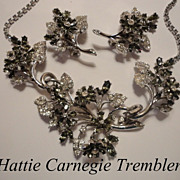 SALE Vintage Hattie Carnegie Rhinestone Flower Trembler Necklace & Earrings Set